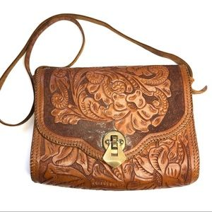Hand Tooled Leather Purse Vintage Brown Leather